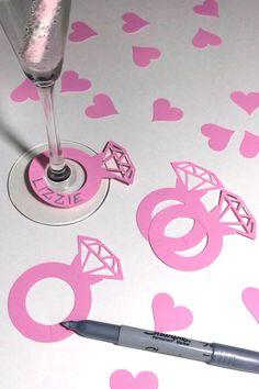 engagement party ideas decorations 20 LIGHT PINK He Put A Ring On It diamond engagement ring wine champagne drink markers bachelorette wedding bridal shower party deco Hen Party Decorations, Decoration Table, Bride Shower, Bridal Shower Party, Hen Night Ideas, Champagne Drinks, Bachlorette Party, Friend Wedding, Wedding Colors