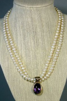 Double Strand of White Round Pearls with Oval Amethyst Pendant on Etsy, $149.00