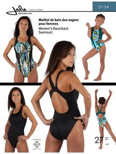 Jalie 3134 - Racerback Swimsuit Pattern for Girls and Women