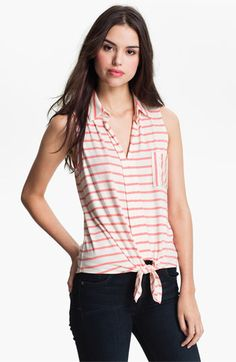 Pleione Tie Front Stripe Top available at #Nordstrom