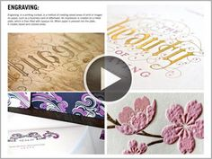 Foil stamping, embossing, debossing, engraving, letterpress, thermography, diecutting, and laminating.