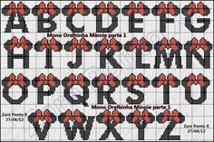Charts Cross Stitch Embroidery Angela: Alphabet -- This makes me think of Minnie Mouse.