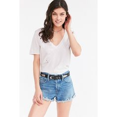 BDG Tom Girl Low-Rise Denim Short ($49) ❤ liked on Polyvore featuring shorts, low rise shorts, denim shorts, relaxed fit denim shorts, bdg and short jean shorts
