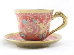 Amazon.com | Ambilight Porcelain 6-ounce Coffee Cup and Saucer Blue Chintz with Gold Trim, set of 1, Blue, E2(1), outstanding decorative cups: Teacups