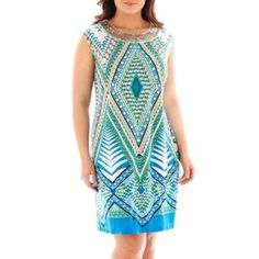 Studio 1® Cap-Sleeve Beaded Shift Dress - Plus   found at @JCPenney