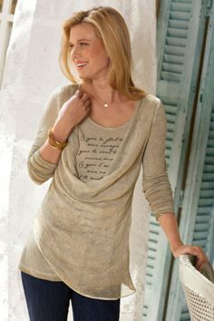Love Letter Top - Soft Knit Top, Asymmetrical Blouse, Ladies Long Sleeve Top | Soft Surroundings