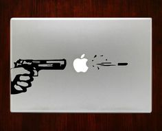 Apple Gun Pistol Gun Shot Bullet Decals Stickers For Macbook 13 Pro Air Decal #RusticDecal