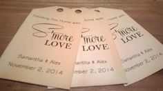 S'More Love Favor Tags by WritefullySimple on Etsy, Writefully Simple, Smore Love, Favor Tags, Wedding Favor Tags, Vintage Favor Tags, Wedding, Tea Stained, Tags