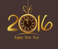 Happy New Year 2016  Old clock