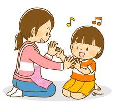 先生と手遊びをする女の子のイラスト(ソフト)