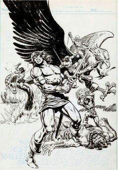 """thebristolboard: """"Unpublished original splash page by Howard Chaykin (pencils) and Ernie Chan (inks). intended for Conan the Barbarian Marvel Comics, October """" Fantasy Heroes, Fantasy Art, Conan The Barbarian Comic, Conan The Conqueror, Savage Worlds, Bristol Board, Sword And Sorcery, Ink Illustrations, Tumblr"""