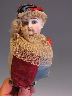 ANTIQUE FRENCH or GERMAN MAROTTE FOLIE BISQUE HEAD DOLL with MUSIC BOX