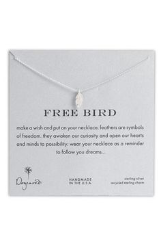 Dogeared 'Reminder - Free Bird' Boxed Feather Necklace available at #Nordstrom