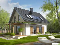 Projekt domu AC Lea (wersja B) CE - DOM - gotowy koszt budowy Facade Design, Exterior Design, House Design, Modern House Plans, Small House Plans, Danish House, Beautiful Modern Homes, Cottage Style Homes, House Blueprints