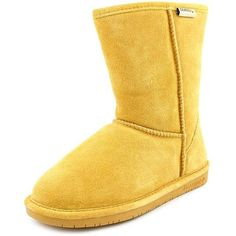 Bearpaw Emma Short Women Winter Boots ($48) ❤ liked on Polyvore featuring shoes, boots, tan, bearpaw shoes, sheepskin lined boots, tan boots, tan suede boots and shock absorbing shoes