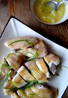 Cantonese Poached Chicken with Ginger Scallion Oil (Bai Qie Ji) - Just chicken, scallions, ginger, oil, and salt. Perfect for Chinese New Year -- or for H-Burn, D-Burn, or Phase 3.