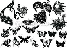 collezione di uccelli e farfalle stilizzate — Vettoriali Stock © Dr.PAS #6415970