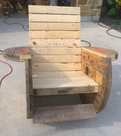 Rocking chair I made from cable reels.. Wooden spool idea. Very comfortable!
