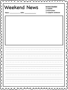 Student can use this template to write about their weekend news. A simple checklist is included for students to use to check their work.