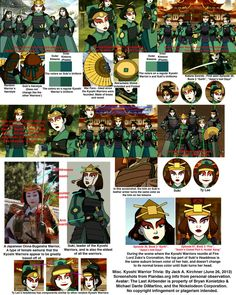 Compliation of references for Kyoshi Warrior Cosplay Brilliant! My thanks to the originator of this compilation! Suki Avatar, Avatar Kyoshi, Avatar The Last Airbender, Halloween Cosplay, Cosplay Costumes, Zuko, Warrior Makeup, Kyoshi Warrior, Avatar Cosplay