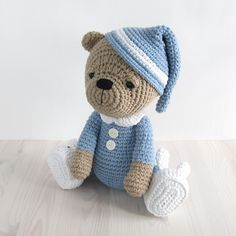 PATTERN: Sleepy teddy in pajamas and bunny slippers