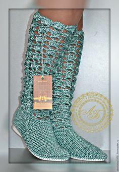 """Купить Сапожки """"Ажур""""...Дикая мята... - мятный, обувь, обувь ручной работы, сапоги женские"""