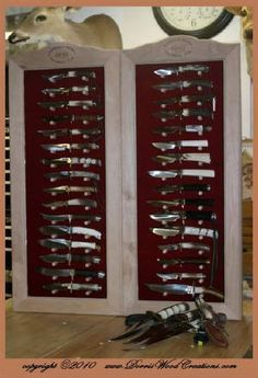 Knife Display Case, Gun Cabinets, Knife Storage, Bowie Knives, Case Knives, Custom Knives, Toolbox, Double Doors, Swords