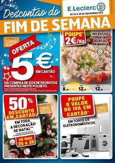Folheto #ELeclerc fim de semana em vigor de 24 a 26 Novembro. Poupe em cartão 50% em toda a decoração de #Natal (dias 25 e 26) e o valor do IVA em todos os eletrodomésticos.
