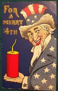 Vintage Fourth of July Postcard (Uncle Sam)