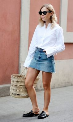 Skirt Outfits to Try this Spring. Keep it simple with a white button up and denim skirt with your favorite slides or mules