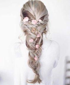 Floral Braid Hair Idea For Prom
