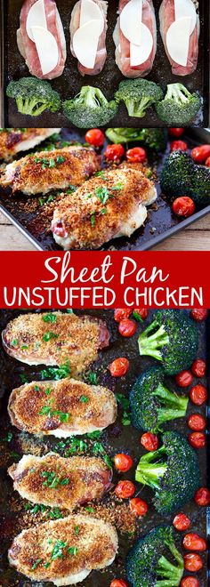 Sheet Pan Unstuffed Chicken Breasts and Roasted Broccoli - easy sheet pan dinner idea! Use gf panko Easy Weeknight Dinners, Easy Meals, Healthy Dinners, Cooking Recipes, Healthy Recipes, Pan Cooking, Healthy Food, Healthy Eating, Cooking Light