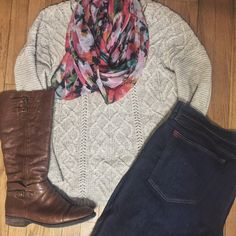 Life in Style | #ootd #sweater #floral #scarf #ridingboots #outfit #college #girl #shop #school #winter