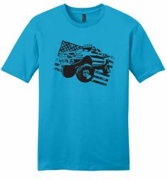 Truck Distressed American Flag Patriotic July 4th USA Shirt
