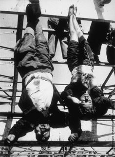 Mussolini and Partucci executed. Tried, shot and hung in disgrace.  Death Faces. Part III. Execution