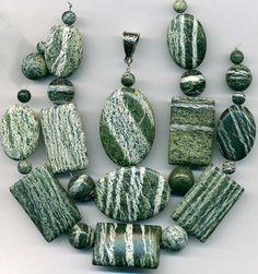 Green Zebra Jasper Beads & Pendant~Large Ovals Rectangles 6-12mm Rounds