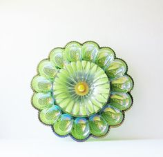 Green Carnival Glass Egg Plate Garden Art Yard Decor Vintage Sunflower Suncatcher Reclaimed Material CLOVER