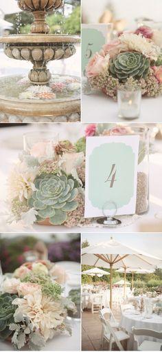 soft flowers, baby's breath, and succulents -- these colors are too mild, but I like the textural combo