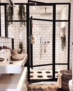 """Mid Century•Boho•Scandinavian on Instagram: """"A bathroom of our dreams. The black and white colors make a stunning combo 🖤🌿 (via @andrea_groot) ~ Follow us for everyday inspo for your…"""""""