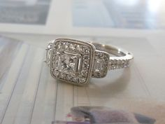 14K White Gold & Princess Cut Diamond Engagement Ring #Bridal #Jewelry