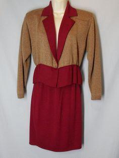 * ST JOHN Marie Gray size 4 vtg vintage knit skirt suit MAROON & BEIGE Peplum