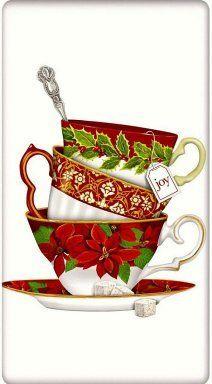 Holiday Christmas Poinsettia Teacups Cotton Flour Sack Dish Tea Towel - Mary Lake Thompson x Christmas Tea Party, Christmas Napkins, Christmas Poinsettia, Noel Christmas, Christmas Images, All Things Christmas, Vintage Christmas, Christmas Crafts, Christmas Graphics