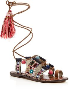 Metallic Embroidered bohemian sandals with braided leather laces. Sam Edelman Gretchen Embellished Lace Up Sandals