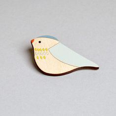 Wooden Bird Brooch - Pippet by Anna Wiscombe