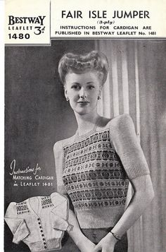 Fair Isle patterning, 1940's short sleeve sweater