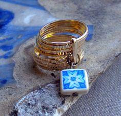 Portugal Blue Antique Tile Replica 7 Escravas Ring size M by Atrio,