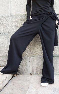 c0ed80c8e Loose Cotton Black Pants / Wide Leg Pants Autumn Extravagant | Etsy  Vestidos Compridos, Calças