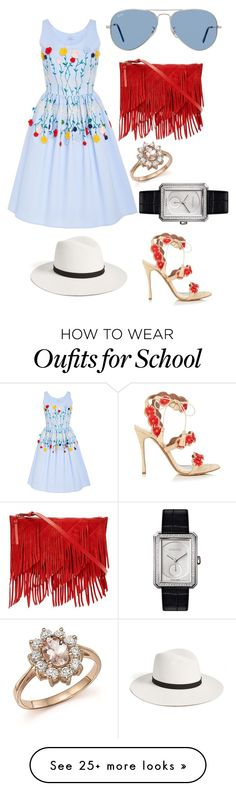"""1 5/7 Days of School Left!!!!!"" by audjshaw on Polyvore featuring Tabitha Simmons, VIVETTA, Ray-Ban, Reiss, Bloomingdale's, Chanel and Janessa Leone"