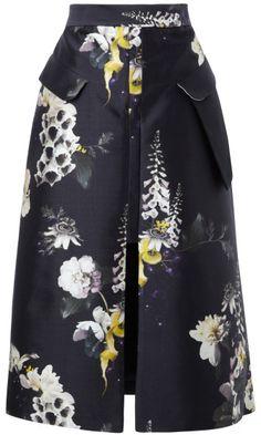 Ellery Vreeland Floral-Print Cotton-Blend Skirt