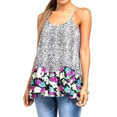 Blusa feminina sem mangas com estampas animal e floral e alças cruzadas nas costas - Hem & Thread